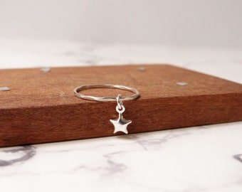 Star ring, stacking band, small dangle charm, sterling silver jewelry by nkdna
