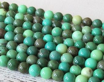 8mm Round Gemstone Beads - Green Grass Opal 8mm Round Beads - Jewelry Making Supplies - Mala Beads Supply