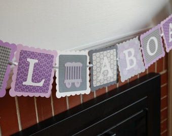 All Aboard Banner, Train Theme, Train Birthday Party, Chugga Chugga, Girl Train, Purple Grey