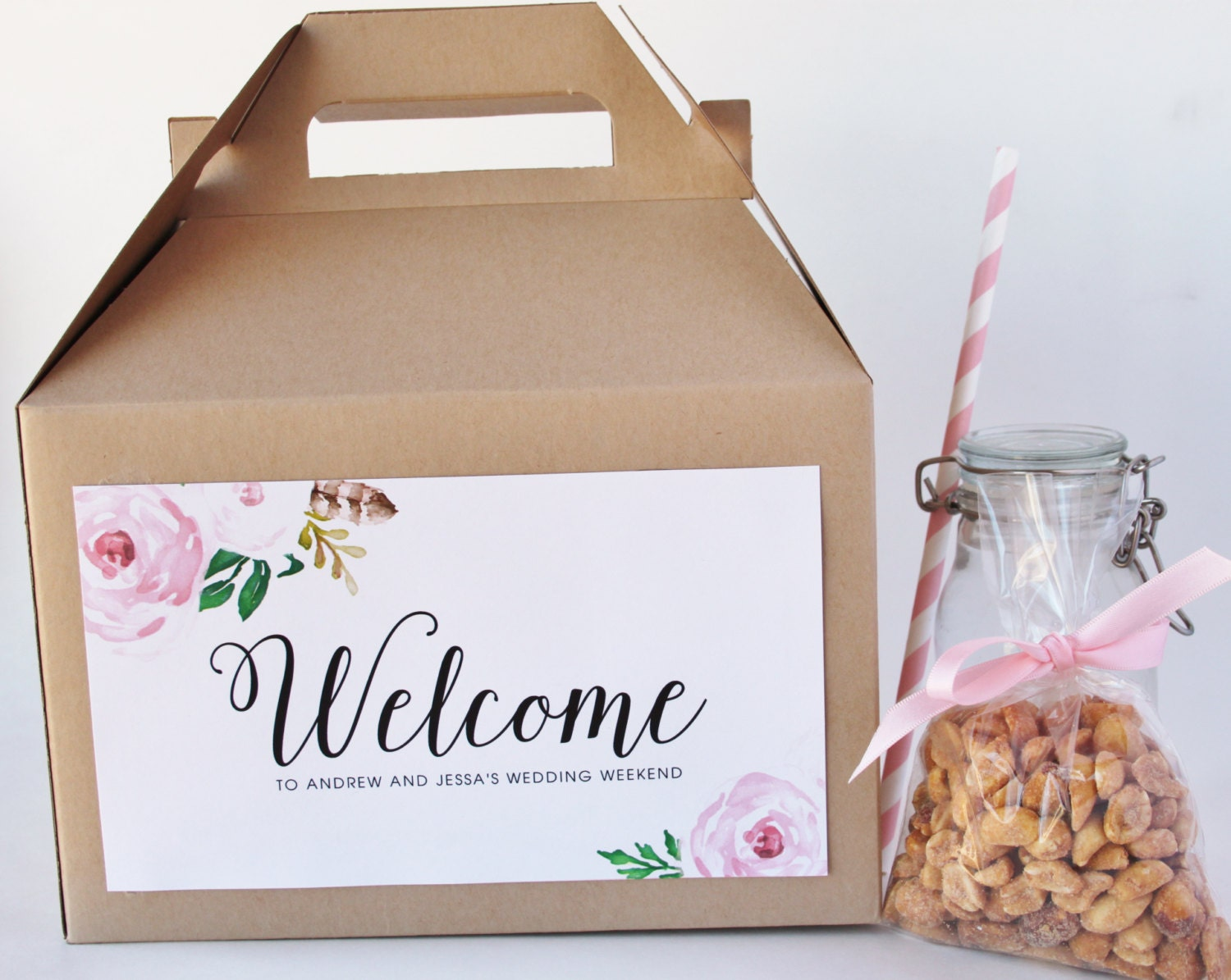25 Out Of The Box Ideas For Your Destination Wedding: Set 10 Hotel Welcome Box Kraft Gable Box With Custom Labels