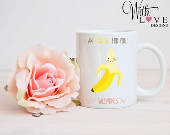 I am Bananas For You Boyfriend Girlfriend Couple Mr & Mrs Quote Coffee Mug Tea Cup Personalised Valentines Day Present Gift