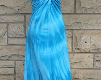Twisted Sis Midi Tank Dress, twisted front mid length dress, turquoise tie dyed swirl dress, tie dyed tank dress, cotton tank dress