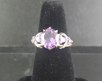 Genuine Purple Amethyst 14K Gold Ring size 7