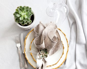 Grey Linen Napkins set of 6 with Polka Dots for your dinning table
