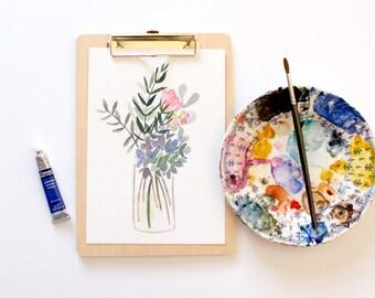 Hydrangea- Original Floral Watercolour