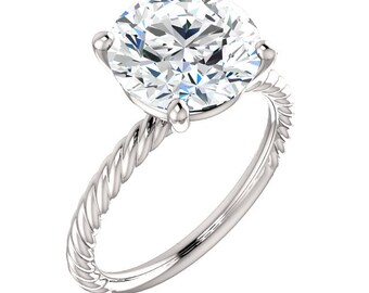 "Moissanite 14K Gold Ring, ""Forever Brilliant"" Bella Ring, Non Traditional Engagement, Prong, Rope Band, Made to Order"