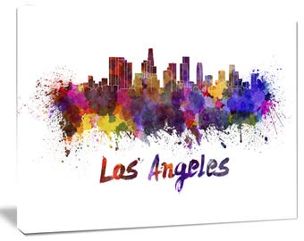 Los Angeles Skyline - Cityscape Canvas and Metal Artwork Print - (PT6582)