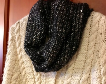 Handwoven Black and Silver Infinity Scarf