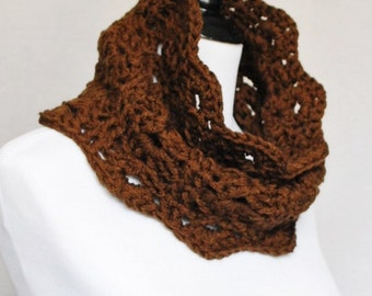 Brown Crochet Cowl, Scalloped Neck Warmer, Infinity Scarf, Collar - Lacy Crochet, Neutral, Chocolate Brown, Dark Brown