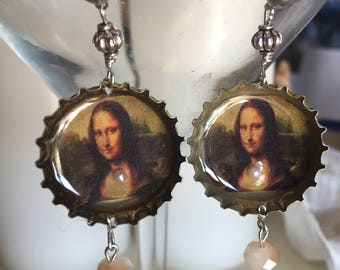 Mona Lisa bottle cap earrings