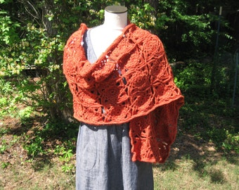 Hand crocheted rectangle shawl in lovely hand-dyed rust colored wool
