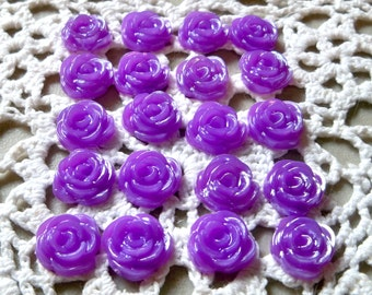 Purple Rose Cabochons/Flatbacks-15mm-16 PCS