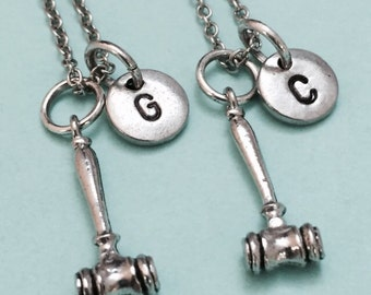 Best friend necklace, gavel necklace, mallet necklace, bff necklace, sister, friendship jewelry, friends, personalize, initial, monogram
