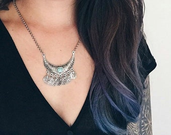 Crescent Moon Festival Bib Statement Necklace - Aqua/Antique Silver