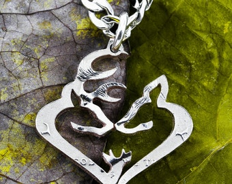 Buck and Doe and Son Necklace, Heart and Family, Deer Jewelry, Hand Cut Coin