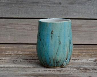 Little Plantain turquoise stoneware mug -  Stoneware Teacup  in turquoise
