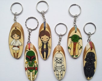 Star Wars Keychain, Star Wars Accessories, Handmade Keychain, Personalised Keyring, Darth Vader, Han Solo, Leia, Yoda, Chewbacca