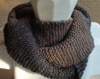 Cowl, mobius scarf, endless scarf, continuous scarf, infinity scarf, gaitor charcoal brown tan multicolored hand knit