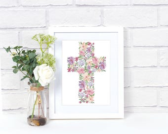 Cross Printable, Easter Printable, Spring Printable, Girl Nursery, Nursery Decor, Easter Decor, Instant Download, Watercolor, Pink Flower