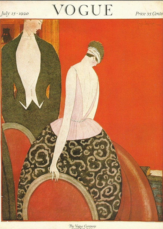 vogue magazine cover 1920 art deco man woman fashion red. Black Bedroom Furniture Sets. Home Design Ideas