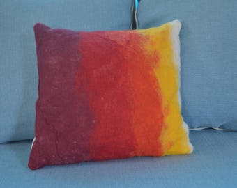 Felt pillow - fire colors