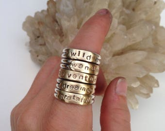 a d v e n t u r e Wordsmith Band Handmade with .925 Sterling Silver & Brass Handmade Jewelry Ring Size 7-7.5 Slightly Adjustable