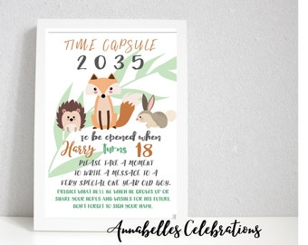 First Birthday Keepsake Time Capsule & Cards for Guests  - Woodland Fox Forest Animals < 1st Party Print - Boys or Girls