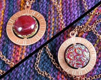 Spinner Pendant Necklace - Copper and Red Flowers - Stim Jewelry
