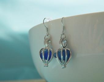 Sea Glass Earrings, Seaglass Earrings, Sea Glass Jewelry, Beach Glass Jewelry, Beach Glass Earrings, Blue, Blue sea glass, Beach Jewelry