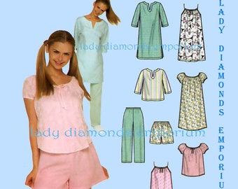 2) Simplicity 9505 Womens Easy Two Hour Nightgowns Pajamas Tops Pants Shorts Camisole size 18 20 22 24 Full Figure Sewing Pattern Uncut FF