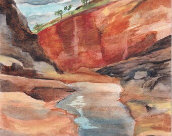 Gorge in the West Australian outback, watercolor