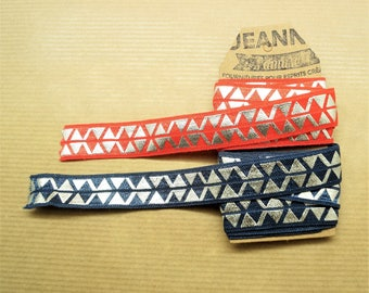 2 x 1 meter Elastic ribbon red coral, blue denim silver geometric patterns, width 16 mm