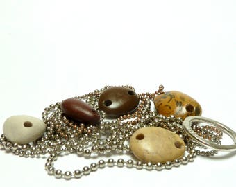 Beach Stone Connectors AMAZON Double Drilled Link Pebble Beads River Rocks Earthy Tribal Charm Beachstones Components