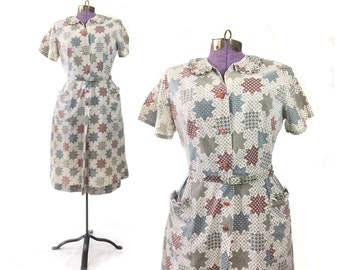 50s Dress vintage dress large 50s dress cotton dress 1940s vintage dress, 40s vintage dress, costume, print dress, summer, day