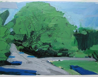 July 21, Afternoon Light, Original Landscape Collage Painting on Paper