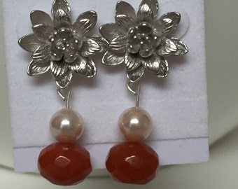 Sterling Flowers, pearls and orange Chalcedony dangle earrings