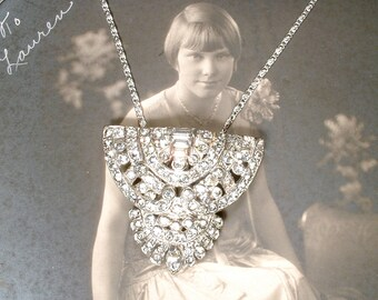 ORIGINAL Art Deco Pendant Necklace,1930 1920 Vintage Wedding Dress/Shoe Clip Paste Rhinestone Flapper Bridal Necklace Antique Gatsby Jewelry