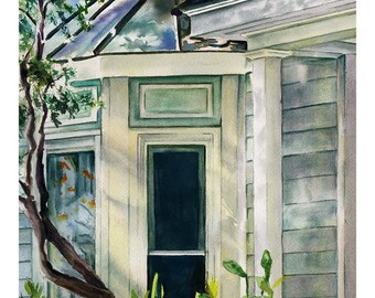 Watercolor Giclee art print, old House-bay window with foliage in Beaufort, South Carolina