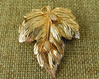 Vintage Unfinished Pin, Vintage Gold Plate Leaf Pin, Gold Plated Leaf Brooch, Vintage Gold Jewelry, 1960's Gold Jewelry