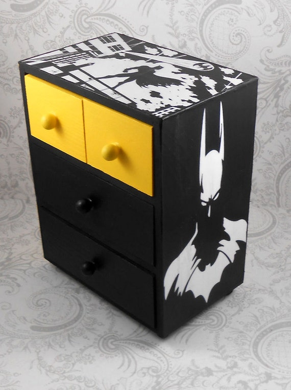 Custom Batman Yellow and Black Stash Jewelry Box
