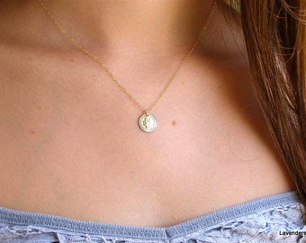 Gold Coin Necklace , Coin Necklace ,  Gold Necklace , Textured Coin Charm , 14k Gold Fill , Disc Necklace , Simple Everyday Jewelry