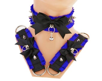 blue collar kitten play collar and cuffs bracelet spikes Choker DDLG collar gothic punk Kittenplay steampunk BDSM Collar gothic choker S5