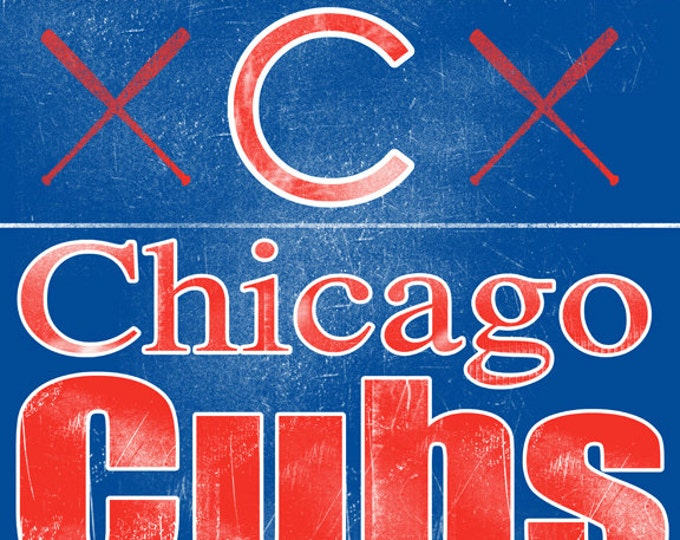 Chicago Cubs Fathers Day Gift REAL WOOD Man Cave Vintage Wall Art Banner 14x20