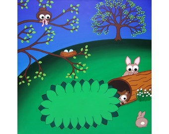 "Spring Landscape Print, 12"" square - spring scene with cute rabbits, hedgehog and bird, cartoon animal nursery artwork, Mark Morriss art"