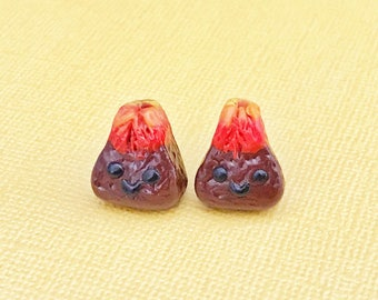 Sculpey, Polymer Clay Volcano Earring Studs, Premo