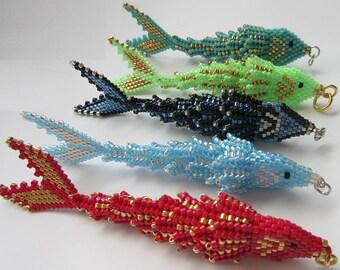 Christmas sale! Use coupon code Christmassale20. Fish Pendant / Keychain. Beaded Fish Pendant. Beadwoven jewelry.
