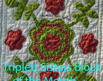 Triplett Sisters BOM: Rose with Four Leaves