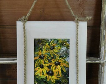 Floral Painting, Black eyed Susan painting, Black eyed Susan art, Fall decor,Flower Wall Decor,Flower Art,Textured Impasto Painting,Fall art