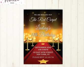 Red carpet invitation hollywood invitation movie night invitation birthday invitation movie star invitation awards invitation printable 309