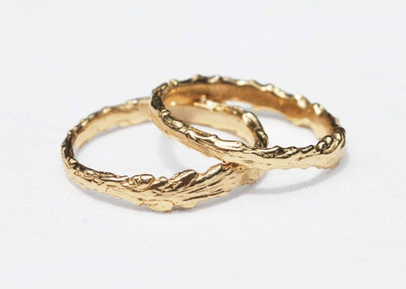 Long Island Solid Gold Twig Ring-14k yellow gold-US size 5.5-Ready to ship.